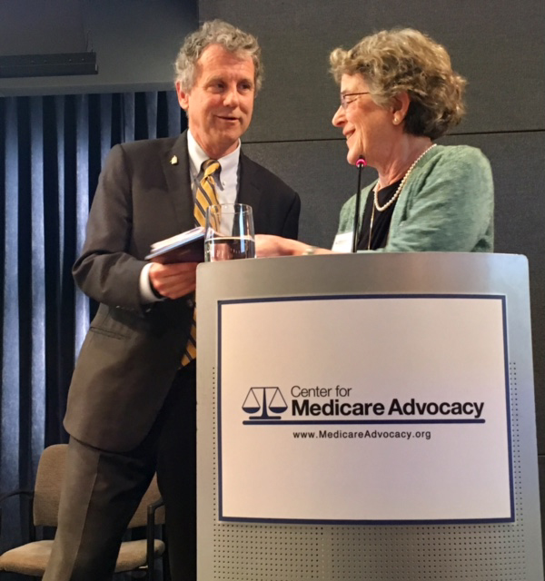 Sen. Sherrod Brown and Center Executive Director Judith Stein
